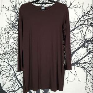 BLUE FISH CLOTHING Brown Tunic Top Long Sleeve